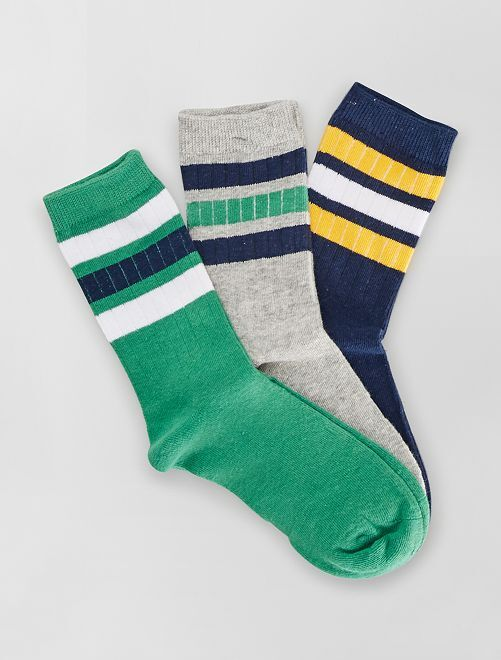 Lot de 3 paires de chaussettes                                         vert/marine/gris
