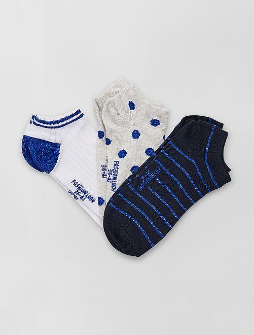 Lot de 3 paires de socquettes                     bleu