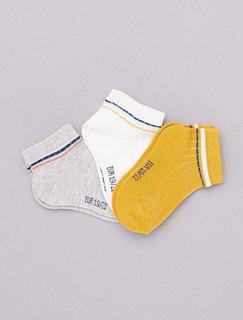 Lot de 3 paires de socquettes 'éco-conception'                             jaune
