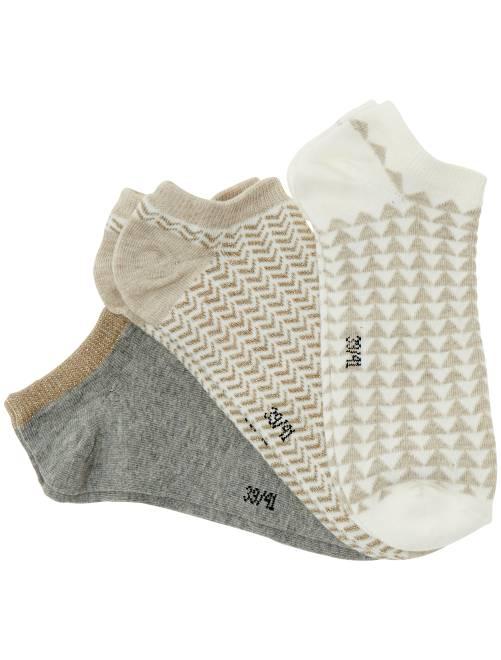 Lot de 3 paires de socquettes                                                                                                                                         écru doré/gris/écru Lingerie du s au xxl