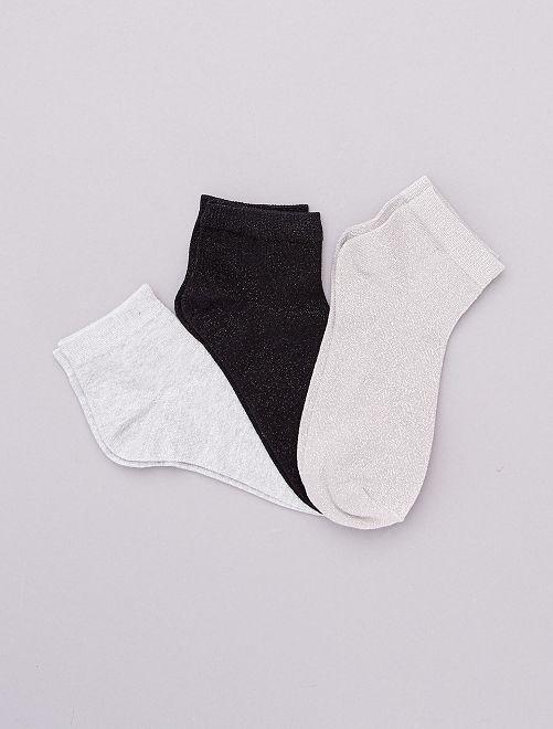 Lot de 3 paires de socquettes effet pailleté                                                                 argent/noir/gris