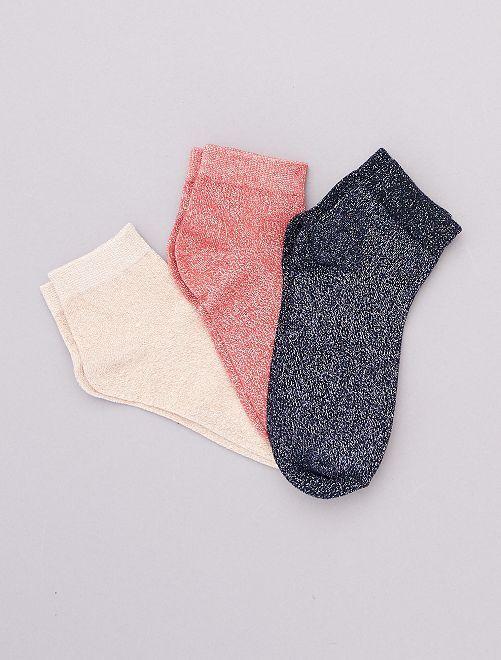 Lot de 3 paires de socquettes effet pailleté                                                                 marine/corail/rosé