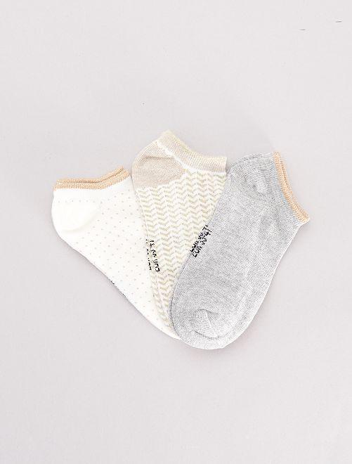 Lot de 3 paires de socquettes                                                                                                                                                                 gris/blanc/doré