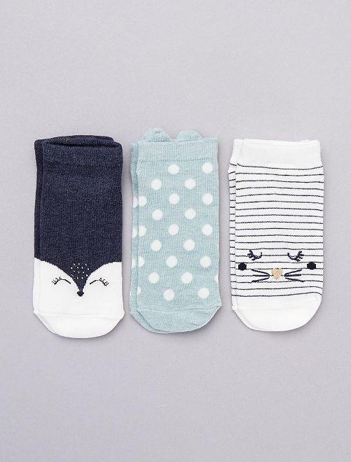 Lot de 3 paires de socquettes                                                                                         gris/blanc/vert d'eau