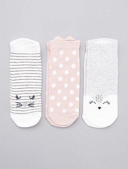 Lot de 3 paires de socquettes                                                                                         gris/rose/blanc