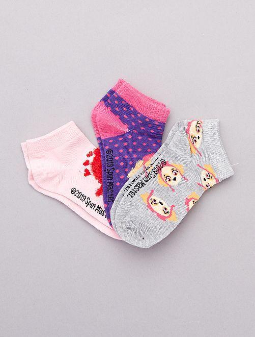 Lot de 3 paires de socquettes 'Pat'Patrouille'                             violet/gris chiné/rose Fille