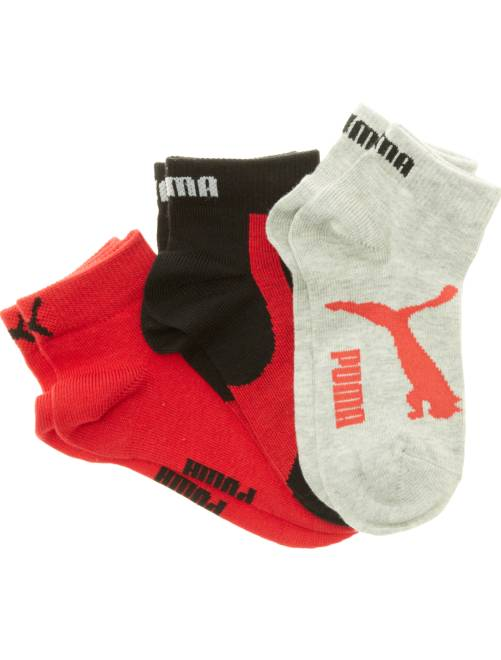 Lot de 3 paires de socquettes 'Puma' à tige courte                                                                                                     noir/gris/rouge