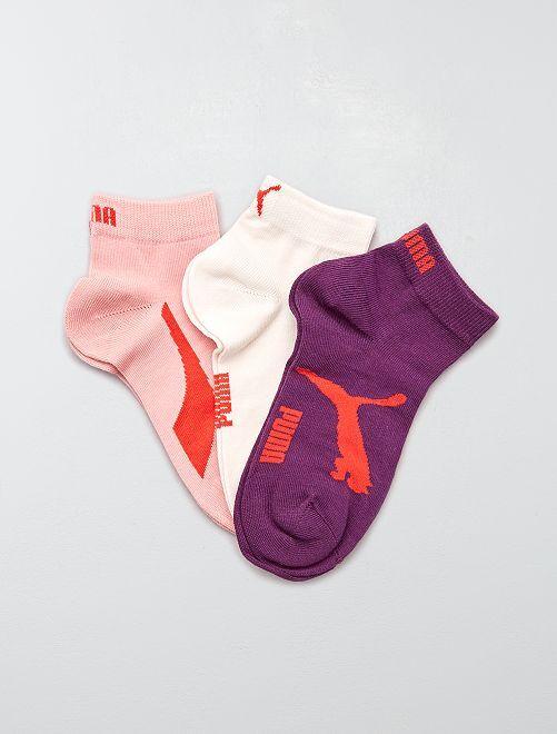 Lot de 3 paires de socquettes 'Puma' à tige courte                                                                                                                 rose / violet / blanc