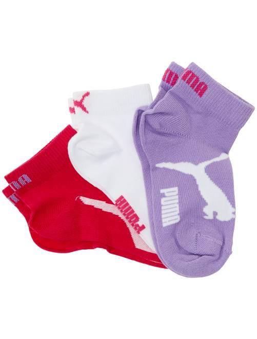 Lot de 3 paires de socquettes 'Puma' à tige courte                                                                                                     rose/blanc/mauve