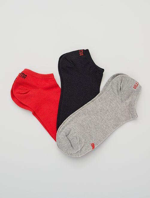 Lot de 3 paires de socquettes 'Puma'                                                                                                                                                     rouge/gris