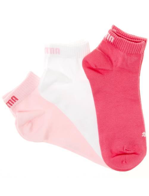 Lot de 3 paires de socquettes 'Puma' tige courte                                                                                                                                         rose/blanc