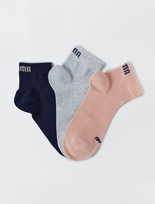 Lot de 3 paires de socquettes 'Puma' tige courte                                                                                                                             rose/gris/bleu