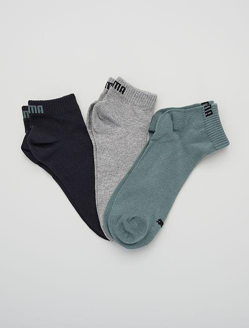 Lot de 3 paires de socquettes 'Puma' tige courte                                                                                                                                                     vert/gris/noir