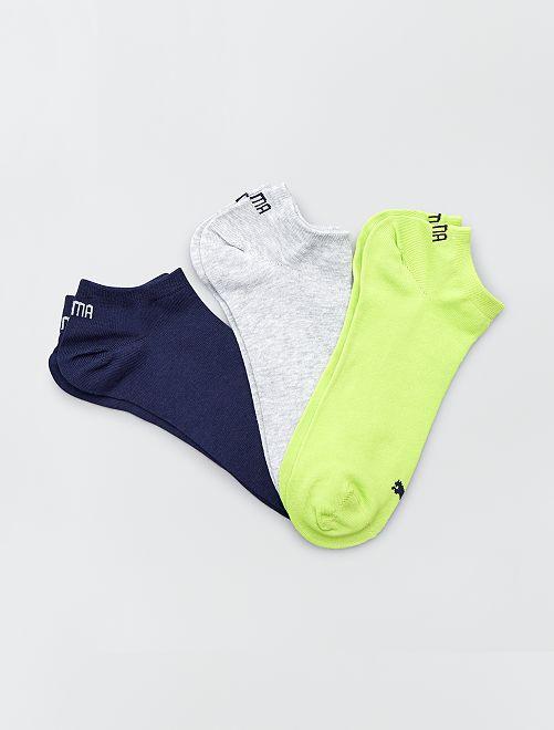 Lot de 3 paires de socquettes 'Puma'                                                                             vert fluo/gris/bleu Homme