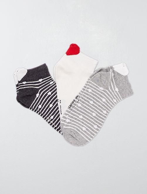 Lot de 3 paires de socquettes 'rayures et cœur'                     gris/écru
