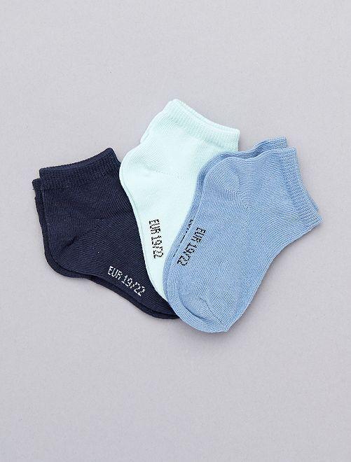 Lot de 3 paires invisibles unies                                                                 bleu Bébé garçon