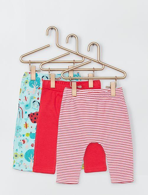 Lot de 3 pantalons                             rose/bleu