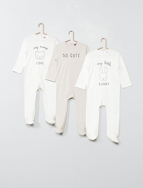 Lot de 3 pyjamas                                                     blanc Bébé fille