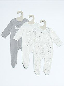 Fille 0-36 mois Lot de 3 pyjamas en coton