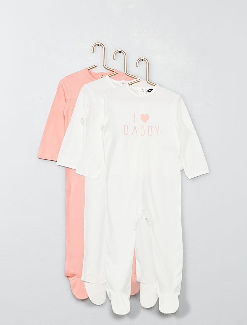 Lot de 3 pyjamas                                                     rose/bvlanc