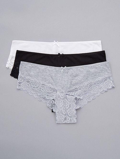Lot de 3 shorties détail dentelle                                         blanc/gris/noir