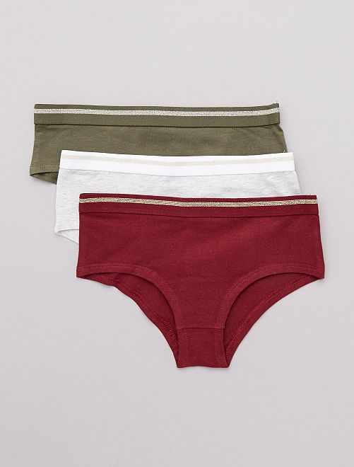 Lot de 3 shorties imprimés                                                                 kaki/bordeaux