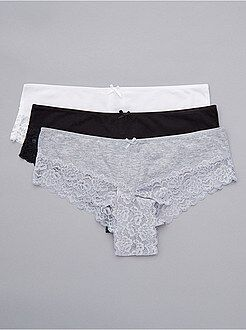 Culotte, shorty, string - Lot de 3 shorties polycoton détail dentelle
