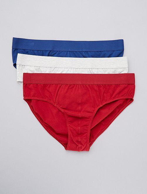 Lot de 3 slips éco-conçus size+                                                     rouge gris bleu
