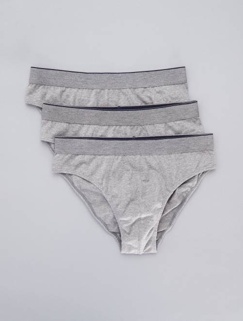 Lot de 3 slips unis                                                     gris Homme