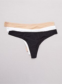Culotte, shorty, string blanc - Lot de 3 strings en microfibre