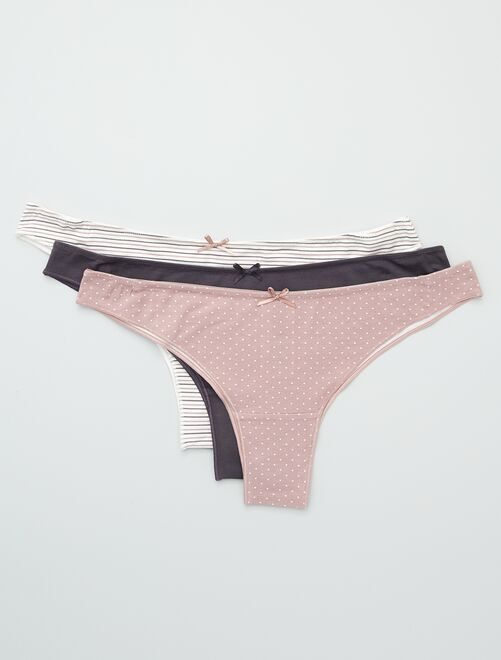 Lot de 3 tangas en coton stretch                                                                             gris/mauve