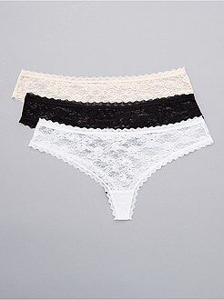 Culotte, shorty, string - Lot de 3 tangas en dentelle