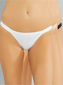 Culotte, shorty, string blanc - Lot de 3 tangas en microfibre