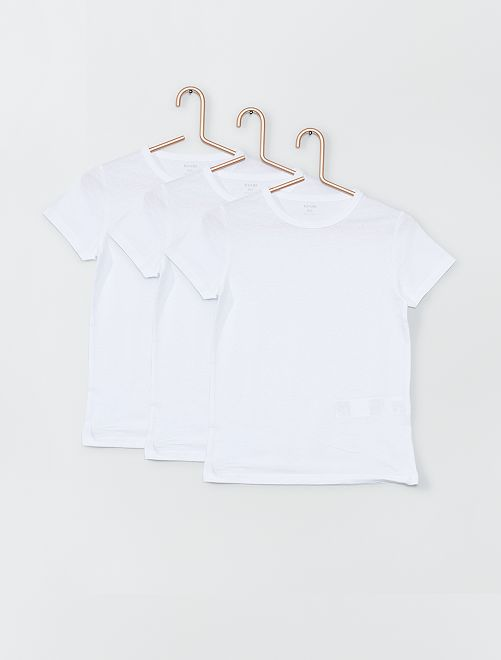 Lot de 3 Tee-shirts blancs blanc Garçon