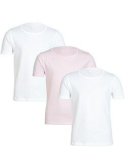 Fille 3-12 ans Lot de 3 Tee-shirts unis