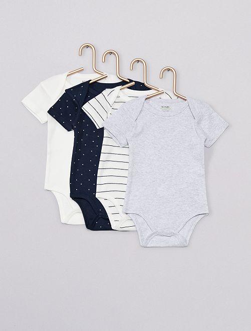 Lot de 4 bodies 'Eco-conception'                                                                 blanc/gris/bleu marine