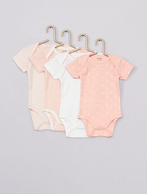 Lot de 4 bodies 'Eco-conception'                                                                 rose/blanc