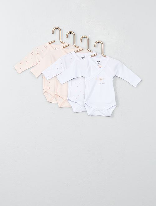 Lot de 4 bodies en jersey                                                                 rose