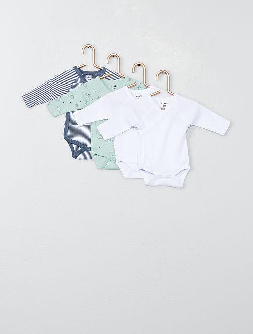 Lot de 4 bodies en jersey                                                                 VERT Bébé garçon