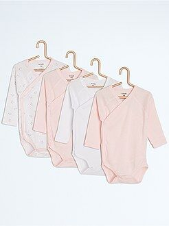 Body manches longues - Lot de 4 bodies en pur coton - Kiabi