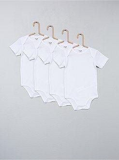 Sous-vêtement - Lot de 4 bodies manches courtes pur coton - Kiabi