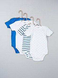 Fille 0-36 mois - Lot de 4 bodies manches courtes pur coton - Kiabi