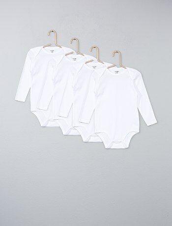 Fille 0-36 mois - Lot de 4 bodies pur coton - Kiabi
