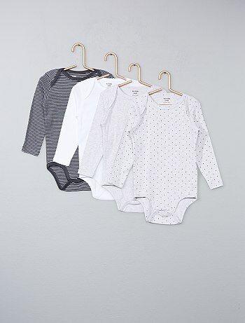 Lot de 4 bodies pur coton - Kiabi