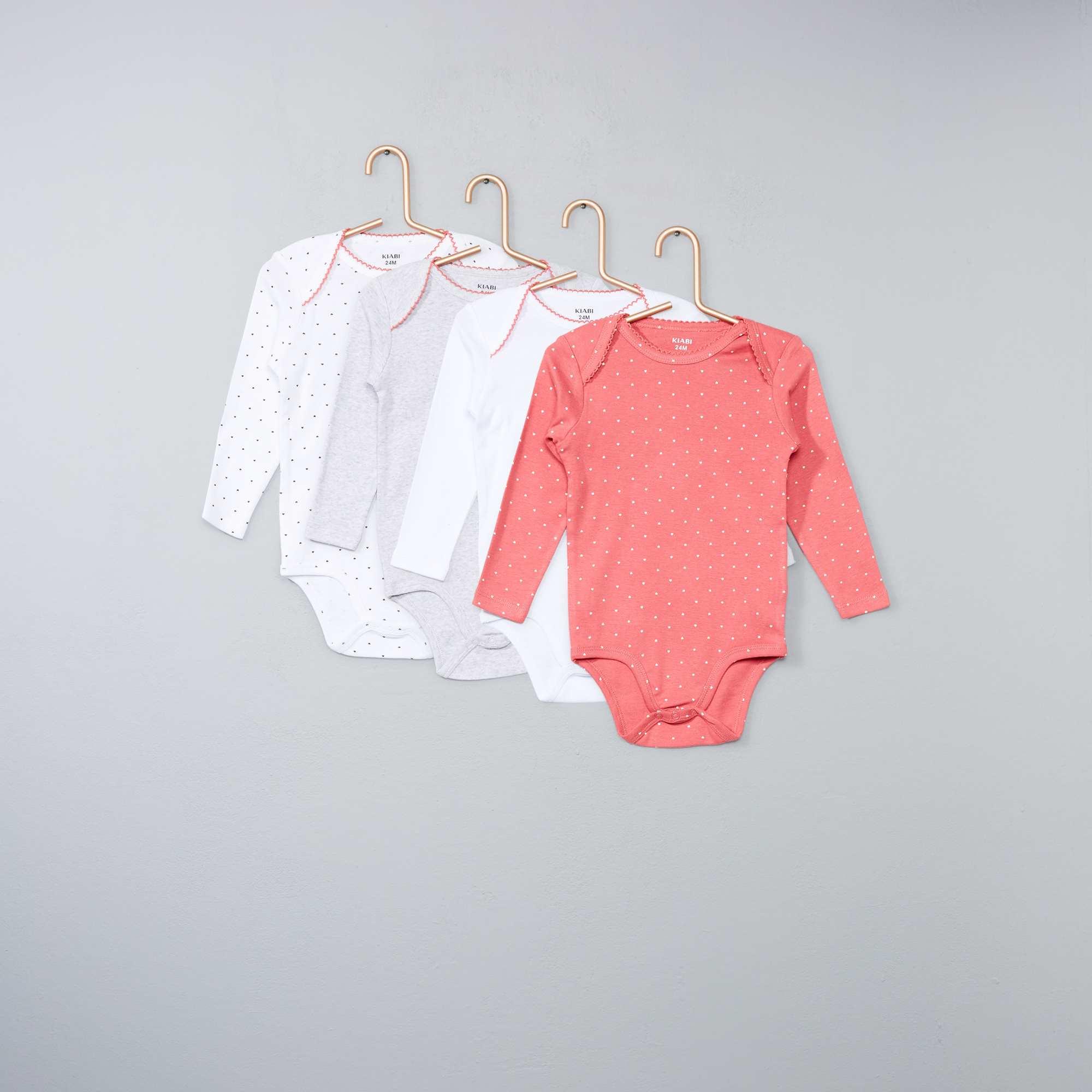 ed57d79982b Lot de 4 bodies pur coton Bébé fille - rose - Kiabi - 7