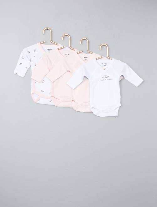 Lot de 4 bodies pur coton                                                                 rose pastel Bébé fille