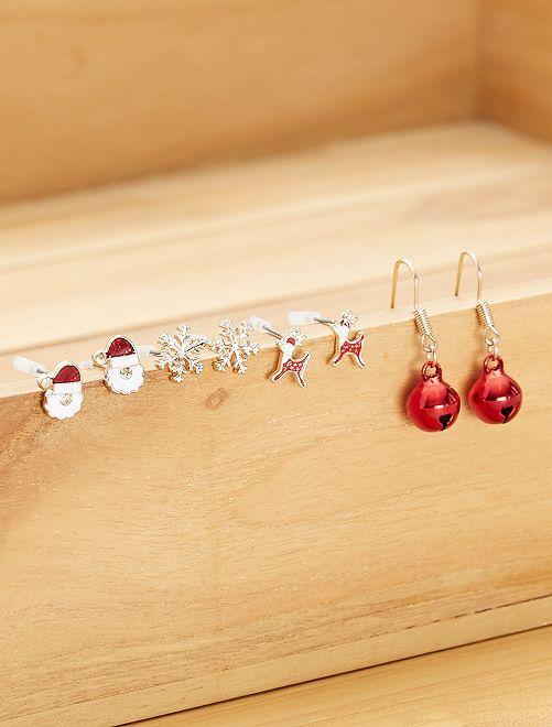 Lot de 4 boucles d'oreilles 'Noël'                                         multicolore