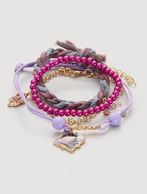 Lot de 4 bracelets la 'Reine des Neiges'                                         rose