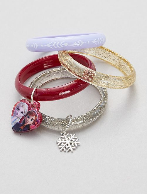 Lot de 4 bracelets rigides 'La Reine des Neiges'                             violet