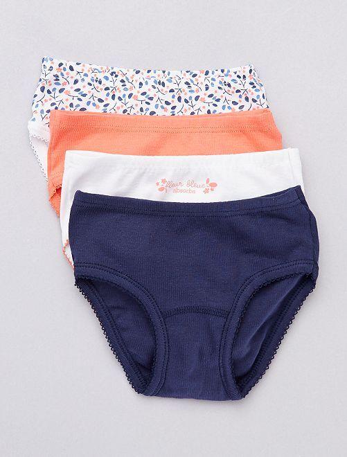 Lot de 4 culottes 'absorba'                             bleu/corail/blanc